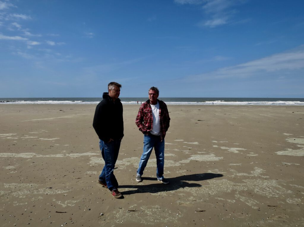 Marc Legendre and Charel Cambré on the beach
